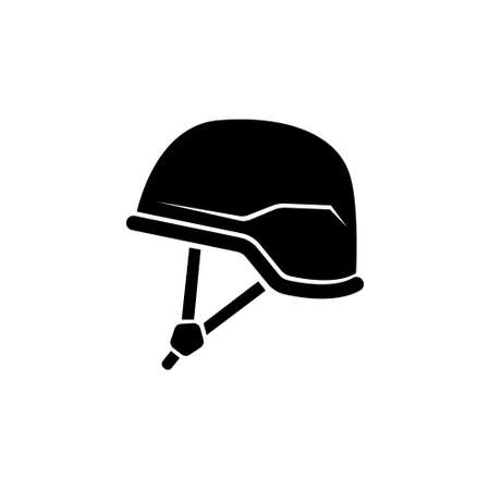 Soldier Helmet, Army Armor, Military Uniform. Flat Vector Icon illustration. Simple black symbol on white background. Soldier Helmet, Army Armor sign design template for web and mobile UI element