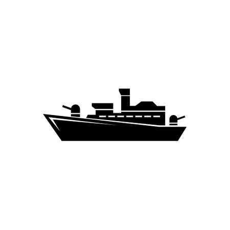 Battleship Destroyer, Warship Cruiser. Flat Vector Icon illustration. Simple black symbol on white background. Battleship Destroyer, Warship Cruiser sign design template for web and mobile UI element