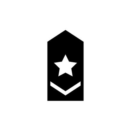 Rank Epaulette, Military Shoulder Badge. Flat Vector Icon illustration. Simple black symbol on white background. Rank Epaulette, Military Shoulder sign design template for web and mobile UI element Stock Illustratie