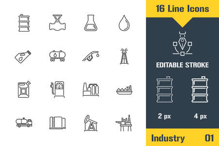 Oil Industry, Refinery, Mining. Thin line icon - Outline flat vector illustration. Editable stroke pictogram. Premium quality graphics concept for web, logo, branding, ui, ux design, infographics. Stock Illustratie