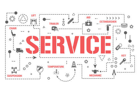 Service word concepts banner. Computer technical diagnostics car. Repair auto infographics. Presentation, website. UI UX idea. Isolated lettering typography with glyph icons. Vector flat illustration Çizim
