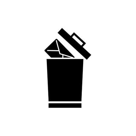 Delete Mail, Remove Email Letter to Trash. Flat Vector Icon illustration. Simple black symbol on white background. Delete Mail, Remove Email Letter sign design template for web and mobile UI element