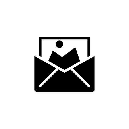Receive Message, Envelope Picture Media. Flat Vector Icon illustration. Simple black symbol on white background. Receive Message, Envelope Picture sign design template for web and mobile UI element