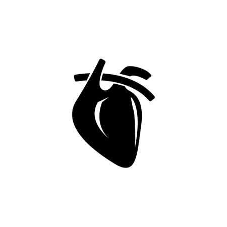 Anatomical Heart, Muscular Humans and Animals Organ. Flat Vector Icon illustration. Simple black symbol on white background. Anatomical Heart, Organ sign design template for web and mobile UI element