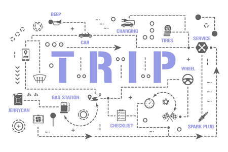Trip word concepts banner. Car preparation for travel. Service vehicle auto infographics. Presentation, website. UI UX idea. Isolated lettering typography with glyph icons. Vector flat illustration Çizim
