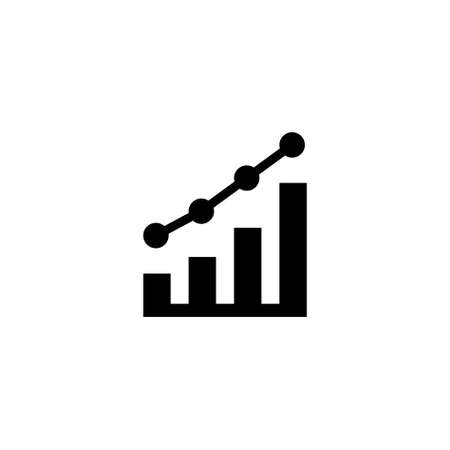 Growing Graph, Growth Diagram, Profit. Flat Vector Icon illustration. Simple black symbol on white background. Growing Graph, Growth Diagram, Profit sign design template for web and mobile UI element