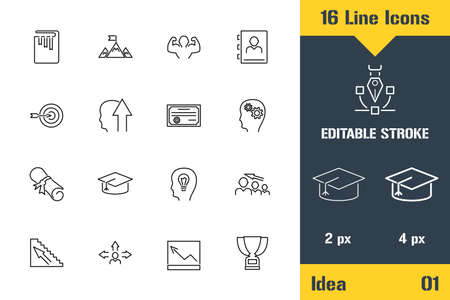 Success Ideas, Marketing Strategy. Thin line icon - Outline flat vector illustration. Editable stroke pictogram. Premium quality graphics concept for web,   branding, ui, ux design, infographics