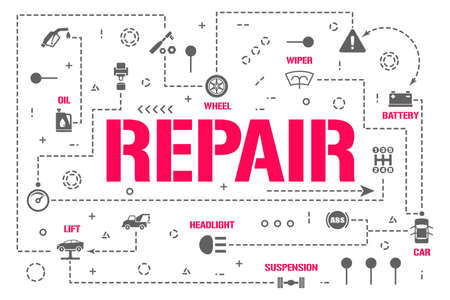 Repair word concepts banner. Mechanic workshop restoration auto. Car service infographics. Presentation, website. UI UX idea. Isolated lettering typography with glyph icons. Vector flat illustration