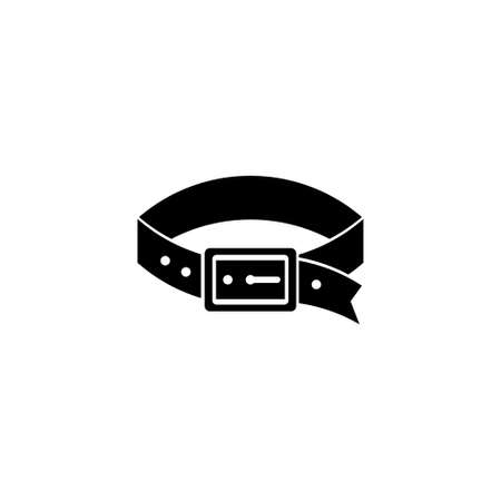 Leather Puppy Dog Collar, Watchdog Belt. Flat Vector Icon illustration. Simple black symbol on white background. Leather Dog Collar, Watchdog Belt sign design template for web and mobile UI element