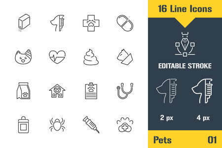 Pets Vet Clinic, Animal Veterinary. Thin line icon - Outline flat vector illustration. Editable stroke pictogram. Premium quality graphics concept for web,  branding, ui, ux design, infographics Stock Illustratie