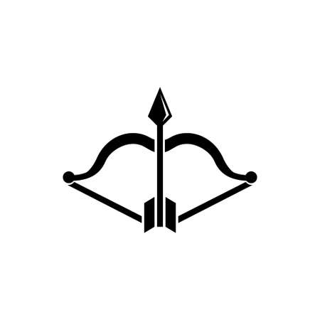 Archery Bow and Arrow, Medieval Weapons. Flat Vector Icon illustration. Simple black symbol on white background. Archery Bow and Arrow, Old Weapons sign design template for web and mobile UI element