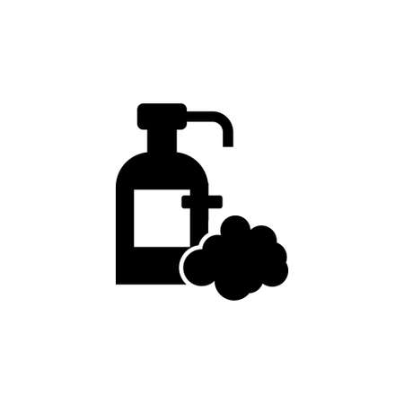 Liquid Hand Soap Bottle, Shampoo Foam. Flat Vector Icon illustration. Simple black symbol on white background. Liquid Hand Soap Bottle, Shampoo Foam sign design template for web and mobile UI element