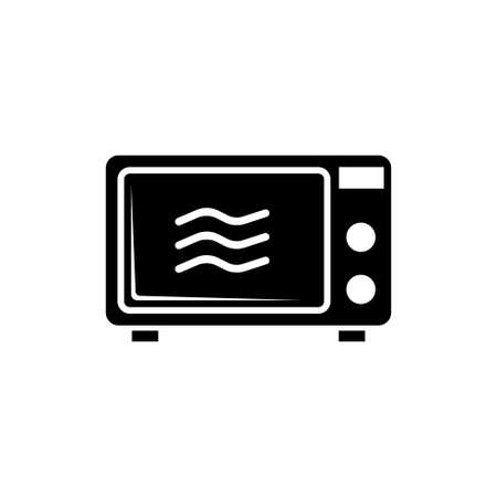 Mechanical Electric Kitchen Microwave Oven. Flat Vector Icon illustration. Simple black symbol on white background. Mechanical Kitchen Microwave Oven sign design template for web and mobile UI element