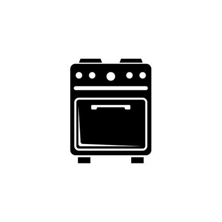 Gas Kitchen Stove, Home Electric Cooker. Flat Vector Icon illustration. Simple black symbol on white background. Gas Kitchen Stove, Electric Cooker sign design template for web and mobile UI element
