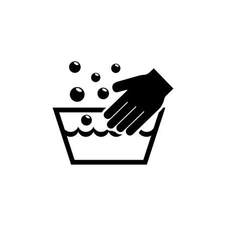 Hand Wash Laundering, Handwash in Basin. Flat Vector Icon illustration. Simple black symbol on white background. Hand Wash in Basin, Clean Handwash sign design template for web and mobile UI element Stock Illustratie