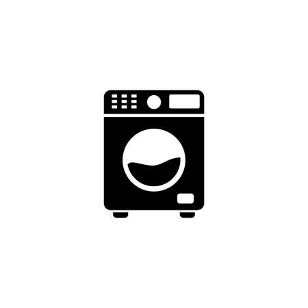 Washing Machine, Automatic Electric Washer. Flat Vector Icon illustration. Simple black symbol on white background. Washing Machine, Automatic Washer sign design template for web and mobile UI element Stock Illustratie