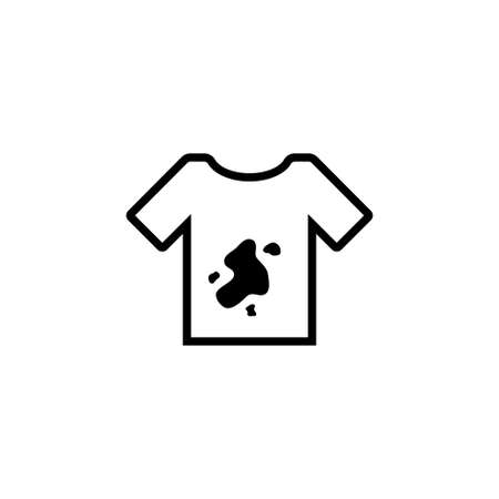 Dirty Tshirt, T-shirt with Spots Dirt. Flat Vector Icon illustration. Simple black symbol on white background. Dirty Tshirt, T-shirt with Spots Dirt sign design template for web and mobile UI element Stock Illustratie