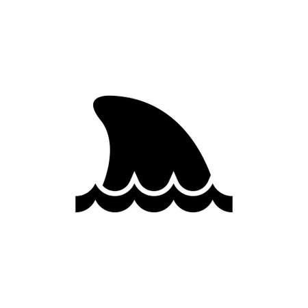 Shark Fin in Water, Ocean or Sea Predator. Flat Vector Icon illustration. Simple black symbol on white background. Shark Fin in Water, Sea Predator sign design template for web and mobile UI element