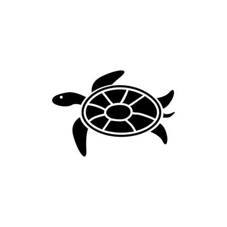 Sea Turtle, Tortoise, Marine Reptile. Flat Vector Icon illustration. Simple black symbol on white background. Sea Turtle, Tortoise, Ocean Reptile sign design template for web and mobile UI element