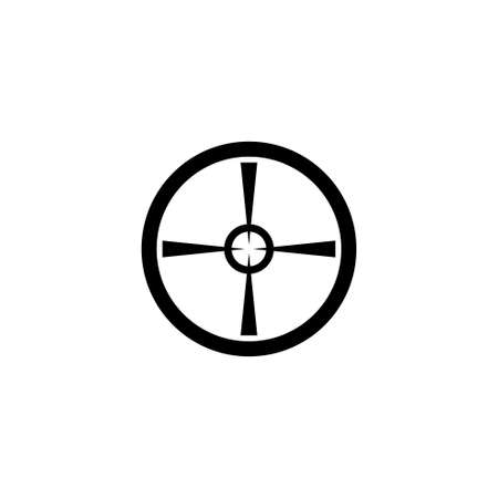 Sniper Cross Target, Aim Hunting Crosshair. Flat Vector Icon illustration. Simple black symbol on white background. Sniper Target, Aim Crosshair sign design template for web and mobile UI element