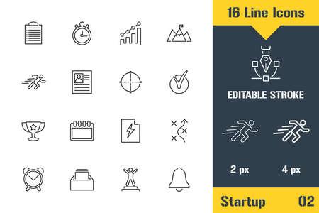 Planning, Business Workflow, Idea. Thin line icon - Outline flat vector illustration. Editable stroke pictogram. Premium quality graphics concept for web, logo, branding, ui, ux design, infographics