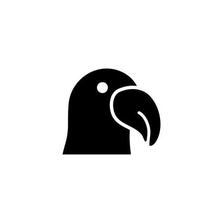 Dodo Bird Silhouette, Parrot Cockatoo. Flat Vector Icon illustration. Simple black symbol on white background. Dodo Bird Silhouette, Parrot Cockatoo sign design template for web and mobile UI element