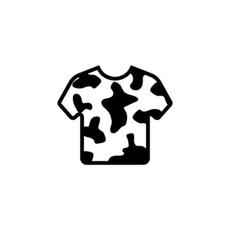 Camouflage Army T-shirt, Military Clothes. Flat Vector Icon illustration. Simple black symbol on white background. Camouflage Army T-shirt, Clothes sign design template for web and mobile UI element Illusztráció