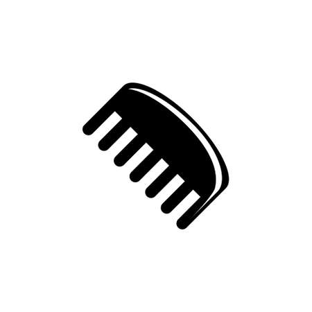 Barbershop Comb, Hairdresser Hairbrush. Flat Vector Icon illustration. Simple black symbol on white background. Barbershop Comb Hairdresser Hairbrush sign design template for web and mobile UI element