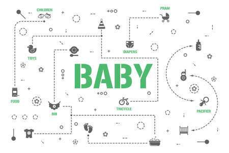 Baby care word concepts banner. Children Equipment for babies. Childcare infographics. Presentation, website. UI UX idea. Isolated lettering typography with glyph icons. Vector flat illustration.