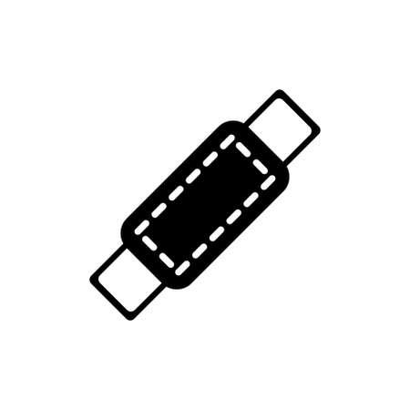 Medical Plaster, Bandage Patch. Flat Vector Icon illustration. Simple black symbol on white background. Medical Plaster, Bandage, sign design template for web and mobile UI element Illusztráció