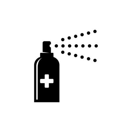 Sanitary Antiseptic, Hygiene Virus Hand Care. Flat Vector Icon illustration. Simple black symbol on white background. Sanitary Antiseptic, Hygiene sign design template for web and mobile UI element