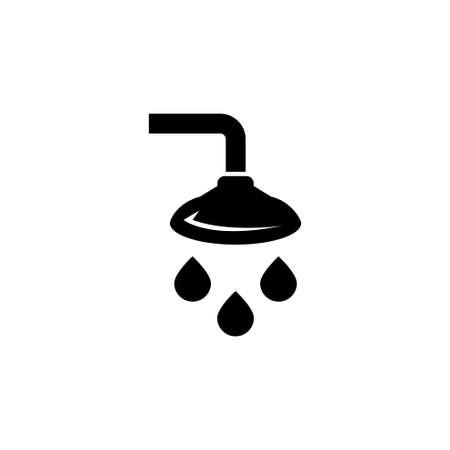 Bathroom Shower, Showering Spray Drops. Flat Vector Icon illustration. Simple black symbol on white background. Bathroom Shower, Showering Spray sign design template for web and mobile UI element Illusztráció
