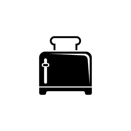 Toaster, Kitchen Electric Device for Toasts. Flat Vector Icon illustration. Simple black symbol on white background. Toaster Kitchen Electric Device sign design template for web and mobile UI element