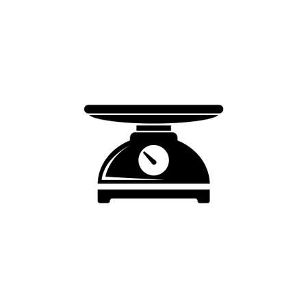 Kitchen Scale, Weight Measurement Tool. Flat Vector Icon illustration. Simple black symbol on white background. Kitchen Scale, Weight Measurement sign design template for web and mobile UI element