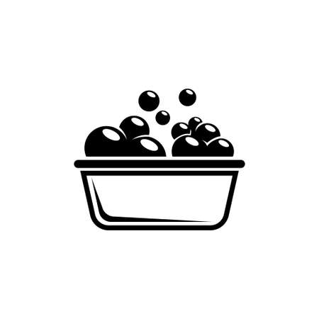 Bowl or Basin for Washing with Soap Bubbles. Flat Vector Icon illustration. Simple black symbol on white background. Bowl or Basin for Washing Soap sign design template for web and mobile UI element