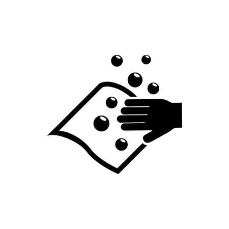 Hand Wiping with Cloth, Wet Wipe and bubble. Flat Vector Icon illustration. Simple black symbol on white background. Hand Wiping with Cloth Wet Wipe sign design template for web and mobile UI element