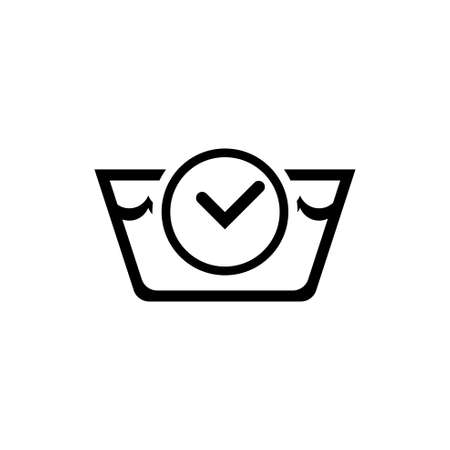 Washing Time. Laundry Basin and Stopwatch. Flat Vector Icon illustration. Simple black symbol on white background. Washing Time. Basin and Stopwatch sign design template for web and mobile UI element Illusztráció
