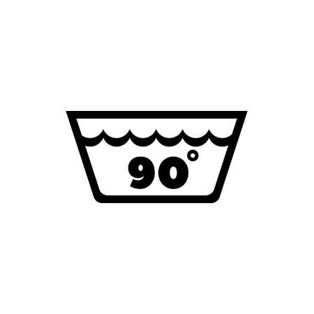 Wash Water Temperature, 90 Degrees Washing. Flat Vector Icon illustration. Simple black symbol on white background. Wash Water Temperature, Washing sign design template for web and mobile UI element