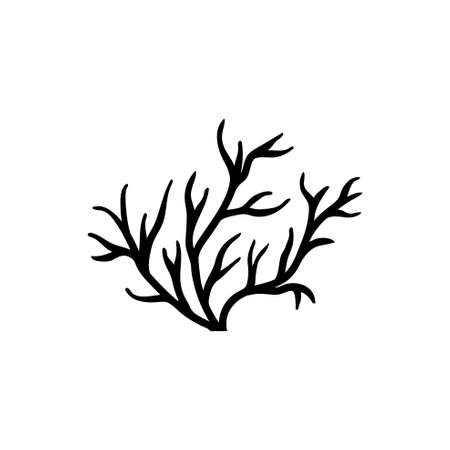 Sea or Ocean Coral, Underwater Seaweed. Flat Vector Icon illustration. Simple black symbol on white background. Sea Ocean Coral, Underwater Seaweed sign design template for web and mobile UI element