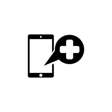 Medical Help Cell Phone, Emergency Call. Flat Vector Icon illustration. Simple black symbol on white background. Medical Cell Phone, Emergency Call sign design template for web and mobile UI element Illusztráció