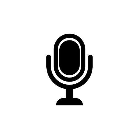 Retro Classic Studio Sound Microphone. Flat Vector Icon illustration. Simple black symbol on white background. Retro Classic Studio Sound Microphone sign design template for web and mobile UI element Illusztráció