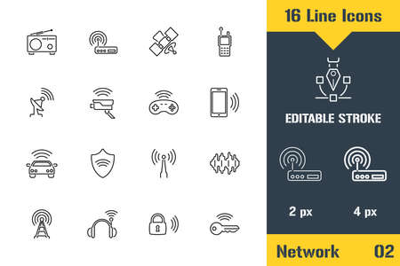Internet of things, Network, Iot. Thin line icon - Outline flat vector illustration. Editable stroke pictogram. Premium quality graphics concept for web, logo, branding, ui, ux design, infographics