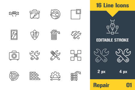 PC and Smartphone Repair Tools. Thin line icon - Outline flat vector illustration. Editable stroke pictogram. Premium quality graphics concept for web, logo, branding, ui, ux design, infographics