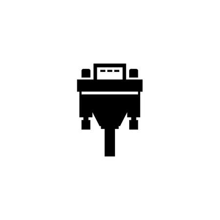 DVI or VGA Cable, Video Plug Connector. Flat Vector Icon illustration. Simple black symbol on white background. DVI or VGA Cable, Video Plug Adapter sign design template for web and mobile UI element