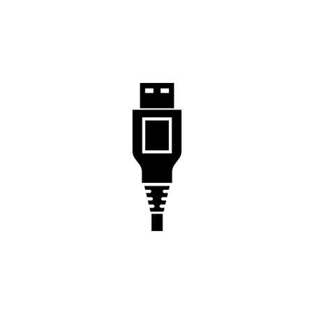 USB Cable Plug Power Connector Type A. Flat Vector Icon illustration. Simple black symbol on white background. USB Cable Plug Power Connector Type A sign design template for web and mobile UI element
