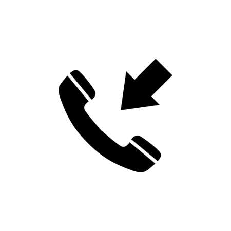 Incoming Call, Phone Handset with Arrow. Flat Vector Icon illustration. Simple black symbol on white background. Incoming Call, Handset with Arrow sign design template for web and mobile UI element