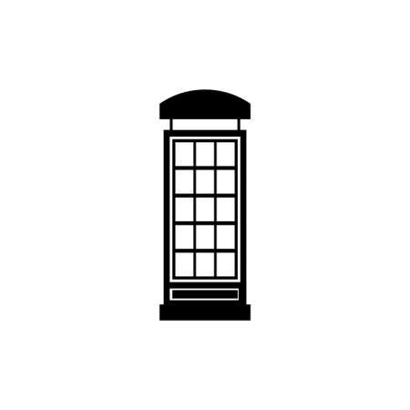 English Phone Booth, London Telephone Box. Flat Vector Icon illustration. Simple black symbol on white background. English Phone Booth, Telephone sign design template for web and mobile UI element