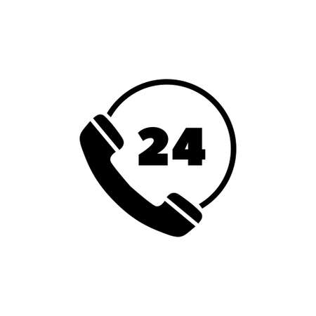 All Day Customer Support Call Center. Flat Vector Icon illustration. Simple black symbol on white background. All Day Customer Support Call Center sign design template for web and mobile UI element