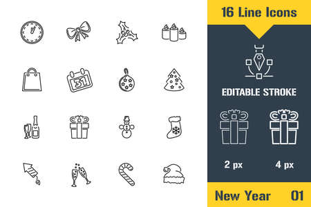 Happy New Year, Merry Christmas. Thin line icon - Outline flat vector illustration. Editable stroke pictogram. Premium quality graphics concept for web, logo, branding, ui, ux design, infographics