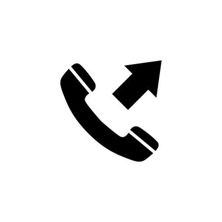 Outgoing Call, Phone Handset with Arrow. Flat Vector Icon illustration. Simple black symbol on white background. Outgoing Call, Handset with Arrow sign design template for web and mobile UI element